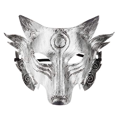 CHICTRY Wolf Mask Halloween Scary Horror Devil Animal Mask Full Face Masquerade Mask Steampunk Cosplay Costume Party mask Silver One Size -