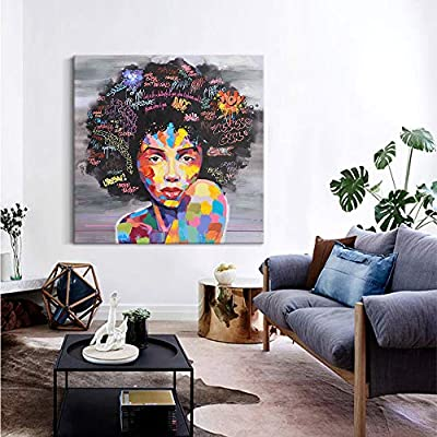 . Crescent Art Black Art Unframed African American Wall Art for Livingroom  Wall Decor  Original Designed Canvas Painting on Print  40 x 40 inch  B