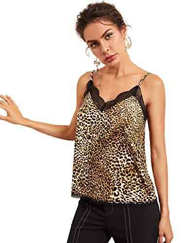 MAKEMECHIC Women's Sleevless Animal Leopard Skin Lace Trim V Neck Cami Multi S