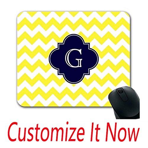 Natures Monogram - Customized Diy Mouse Pads Yellow Wht Chevron Navy Blue Quatrefoil Monogram Mouse Pad Design Your Gaming Mouse And Pad Design Your Own Nature Mouse Pad