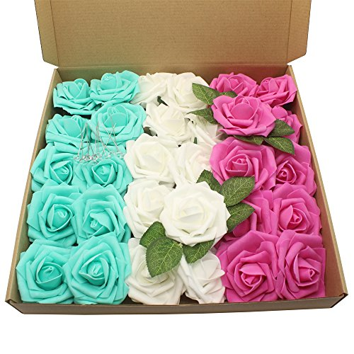 Hot Bouquet Pink Rose (Artificial Flower Rose,30pcs Real Touch Artificial Foam Roses +15pcs Flower Pins Decoration DIY for Wedding Bridesmaid Bridal Bouquet Centerpieces Party (white+Hot pink+Teal blue))