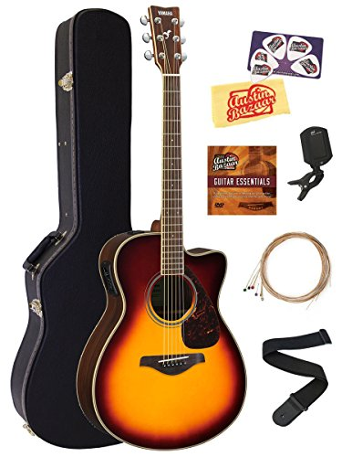 Yamaha FSX830C Small Body Acoustic-Electric Guitar Bundle with Hard Case, Tuner, Strap, Instructional DVD, Strings, Picks, and Polishing Cloth – Brown Sunburst