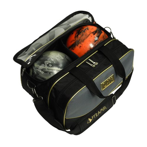 Path Double Tote Plus Clear Top Bowling Bag (Black/Gold/Grey)