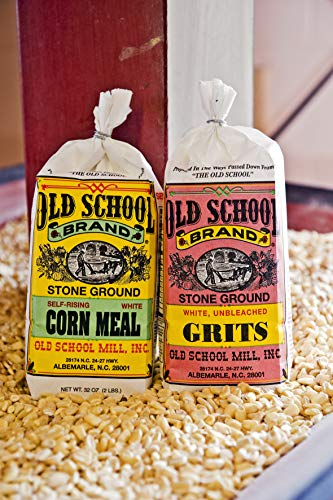 Old School Brand Cornmeal & Grits Combo Pack - (2 Pound Bag Non-GMO White Corn Grits and 2 Pound Bag Non-GMO Self-Rising White Cornmeal)
