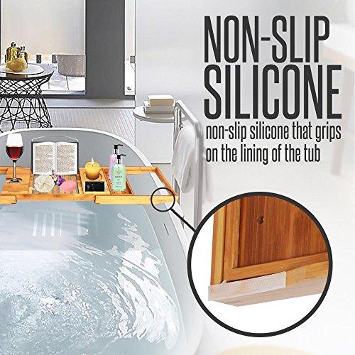 [해외]SereneLife 럭셔리 대나무 조정 가능한 욕조 캐디 자연, 우드 브라운/SereneLife Luxury Bamboo Adjustable Bathtub Caddy Natural, Wood Brown