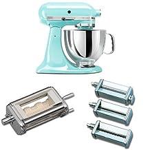 KitchenAid KSM150PSIC Artisan 5-Quart Stand Mixer, Ice Blue + KitchenAid KRAV Ravioli Maker Attachment for Stand Mixers + KitchenAid KPRA Pasta Roller & Cutter Set Bundle
