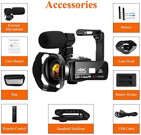 Camcorder 4K HD 48MP Video Camera 18X Digital Zoom IR Night Vision YouTube Camcorder with Portable Handheld Stabilizer,Microphone and Remote Control