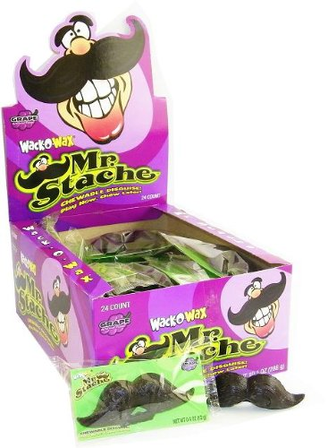 Wack O'Wax Grape Flavored Halloween Wax Mustaches, Box of 24 -