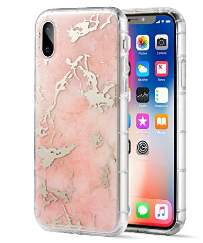 iPhone X Case,Spevert Marble Pattern Hybrid Hard Back Soft TPU Raised Edge Ultra-Thin Shock Absorption Scratch Proof Slim Protective Case for iPhone X - Rose Gold