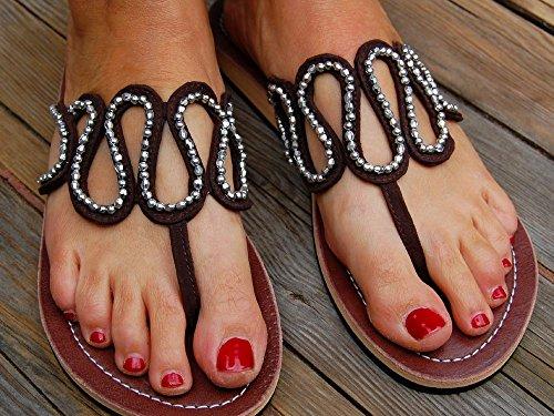 SEESTERN Damen Leder Zehentrenner Zehensandale Zehensteg Sandalen in Größe 36-44 Braun