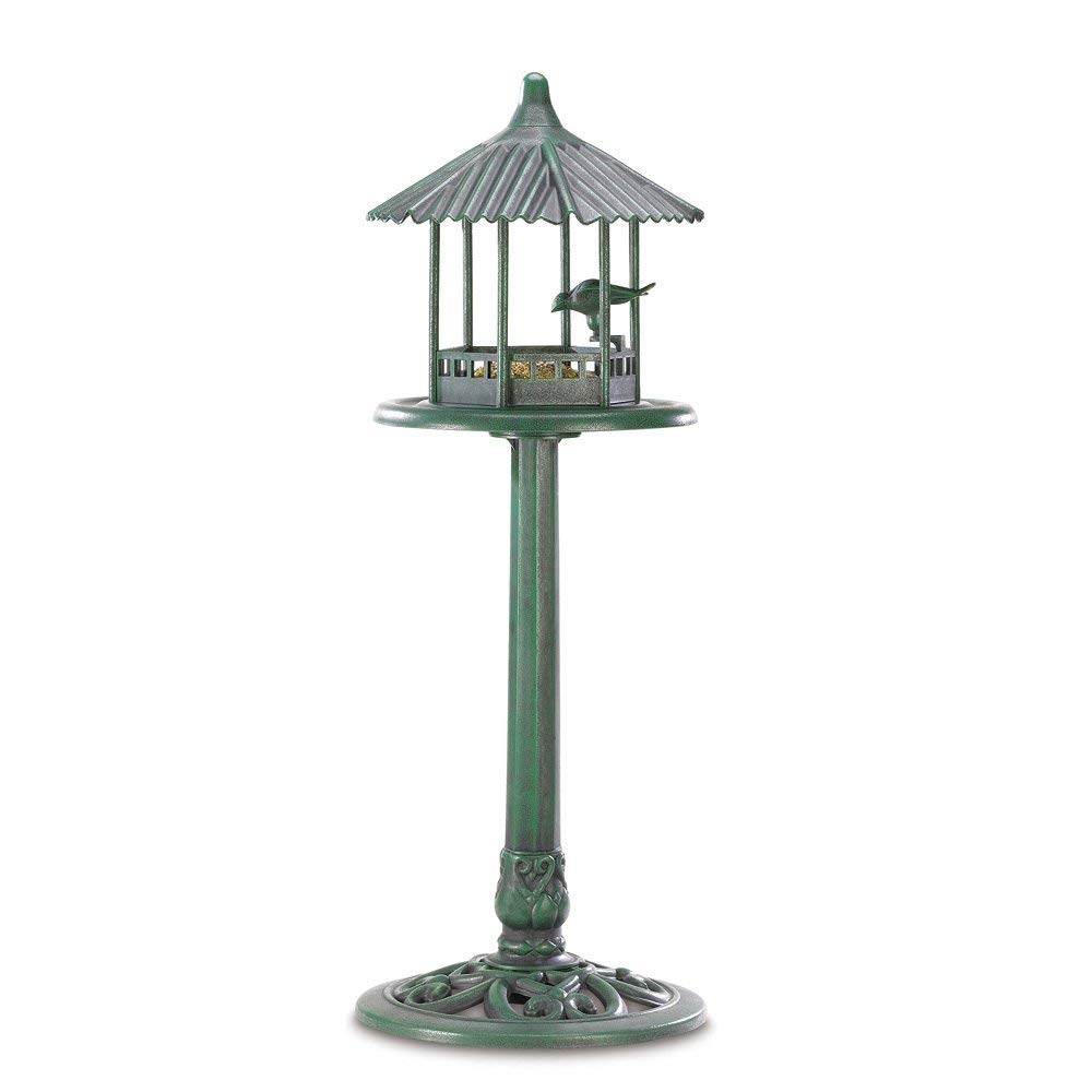 Gifts & Decor Verdigris Gazebo Standing Outdoor Garden Birdfeeder