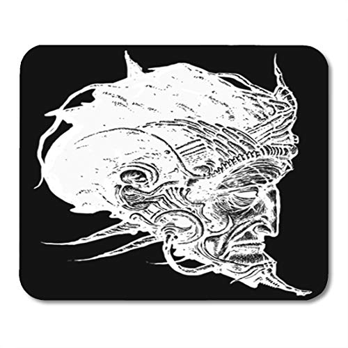 """Semtomn Gaming Mouse Pad Alcohol Shaman Steampunk Head Digital Alien Ascetic Asia Asian 9.5""""x 7.9"""" Decor Office Nonslip Rubber Backing Mousepad Mouse Mat"""