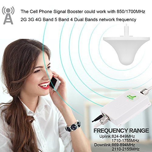 Mingcoll Cellphone Signal Booster 2G 3G 4G LTE T-mobile AT&T Verizon Wireless Network Booster Dual Band Amplifier GSM CDMA 850mhz AWS 1700mhz with Indoor Ceiling Outdoor LDPA Antenna for Home Office by Mingcoll (Image #4)