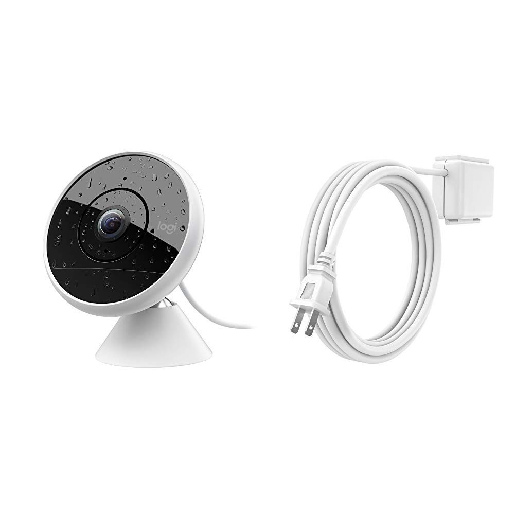 Logitech Circle 2 Indoor/Outdoor Wired Home Security Camera, HomeKit and Google, 180° Wide-Angle &  Circle 2 Weatherproof Extension Accessory for Circle 2 Wired Weatherproof Home Security Camera by Logitech