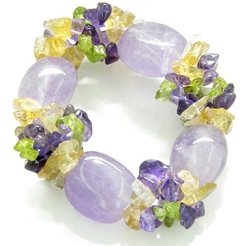 Amulet Healing Tumbled Purple Quartz Crystal Gemstone Chips Bracelet
