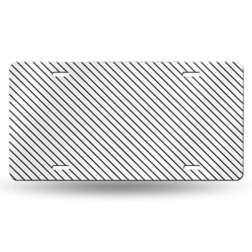 (Poream Diagonal Stripes Gray Personalized Novelty Label Aluminum License Plate Cover Protector for All Standard Cars 6