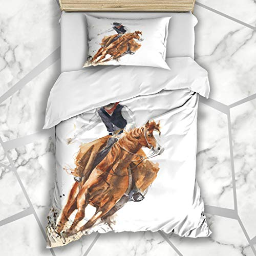 Ahawoso Duvet Cover Sets Twin 68X86 Style Watercolor Western Cowboy Riding Horse Ride Culture Calf Roping Rodeo Vintage Design Farm Microfiber Bedding with 1 Pillow Shams