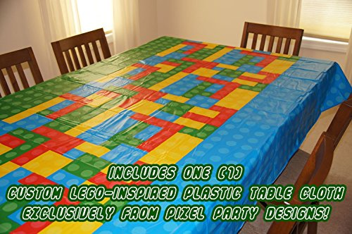 "Pixel Party Toys Brick-Style Birthday Party Tablecloth (108"" x 54"") - Fun for Indoor or Outdoor Use, Wipes Clean in Seconds - Disposable Brick Party Theme Table Cover, Made from Recycled Materials"
