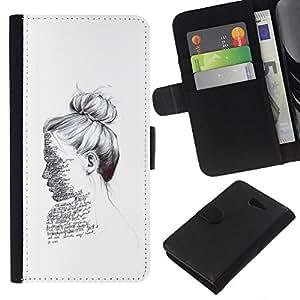 KLONGSHOP // Tirón de la caja Cartera de cuero con ranuras para tarjetas - escritor lectura retrato tinta blanca profunda - Sony Xperia M2 //