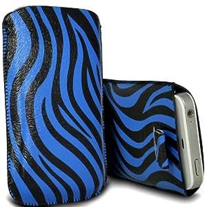 Wiko Luna Negra Protección Premium de Zebra PU tracción Piel Tab Slip In Pouch Pocket Cordón piel cubierta de liberación rápida Case Blue & Negro por Spyrox