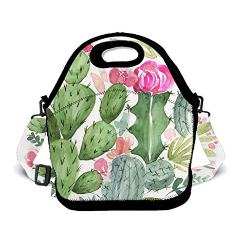 OKAYDECOR Exotic Cacuts Lunch Box Bag for Kids and Adult,Backpack Lunch Tote Lunch Holder with Adjustable Strap for Men Women Boys Girls,This Design for Portable, Oblique Cross,Double Shoulder