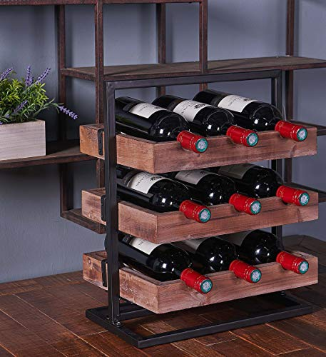 RiteSune 3 Tier Stackable Wine Rack Countertop Classic Style Wine Holder Storage Stand – Hold 9 Bottles, Metal+Wood