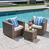 Cheap Venice Outdoor Light Brown Wicker 3 Piece Swivel Chat Set with Ceramic Grey Water Resistant Cushions