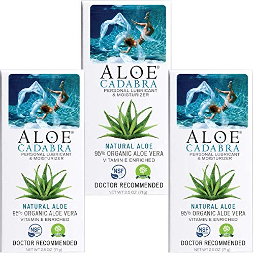 Aloe Cadabra Natural Personal Lubricant and Organic Sex Lube for Men, Women & Couples, Natural Aloe, 2.5 Ounce (Pack of 3)