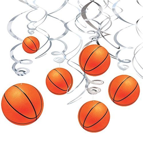 Chris.W Basketball Hanging Swirl Basketball Themed Party Decorations, Boy Birthday Party Supplies, Set of 12]()