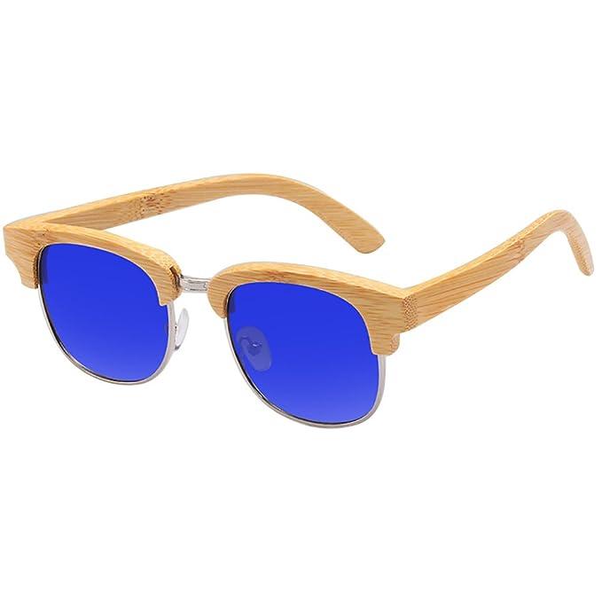 Semi - rimless Gafas de sol de bambú madera gafas de sol polarizada Lente Espejo lente