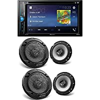 Pioneer Double 2 Din AVH-200EX DVD/MP3/CD Player 6.2 Touchscreen Bluetooth Kenwood KFC-1666 6 2-Way Speakers (2Pair)