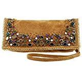 MARY FRANCES Rambling Stones Embellished Suede Cross-body Handbag