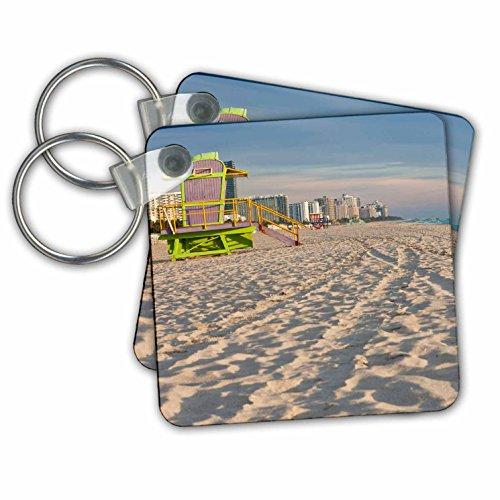 "3dRose South Beach and Lifeguard Hut, Miami, Florida, USA, Early Morning - Key Chains, 2.25"" x 2.25"", Set of 2 (kc_230516_1)"