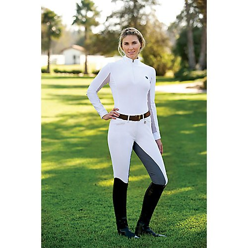 Romfh Women's LDS Sarafina Microfiber Soft Full Seat Breeches, White/Light Grey, 30 Regular ()