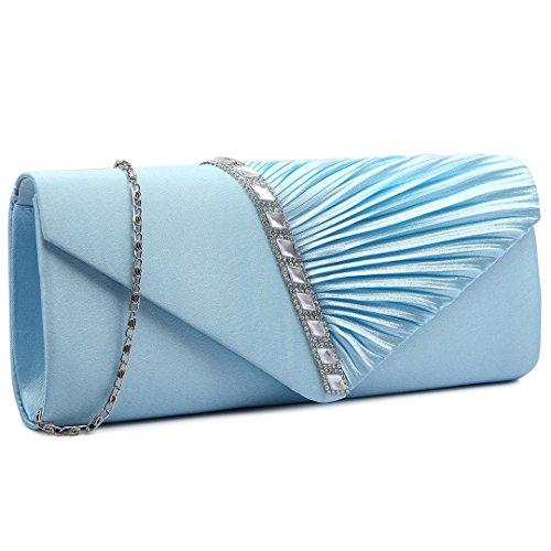 Miss Lulu Satin plisado para noche fiesta, boda, bolso de mano 6682 Elegant Diamante Clutch Light Blue