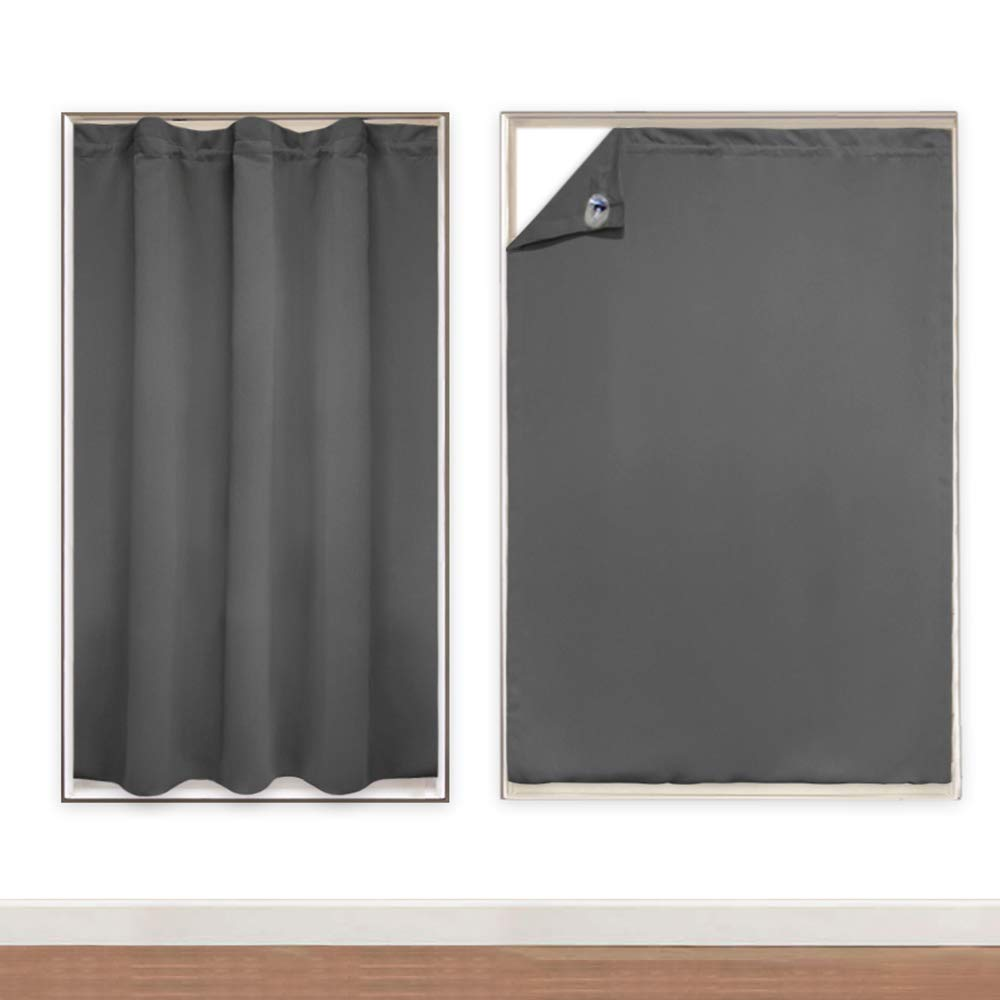Pony Dance Window Blinds For Travel 51 X 78 Inches Grey Blackout Cover Portable Adjustable Curtains Light Blocking Stickers Panel With Suction Cups