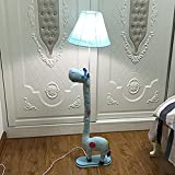 Edge To Floor lamp Cartoon Children's Bedroom Animals Creative Fabrics Floor Lamps Living Room Study Vertical Table Lamps Bedside Reading Learning Lights (Color : Yellow)