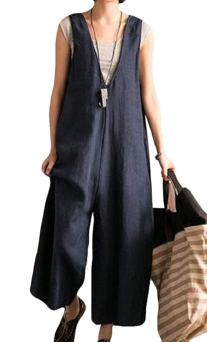 SELX Women Slimming Stylish Comfy Loose Wide Leg Tooling Bib Overall Pants