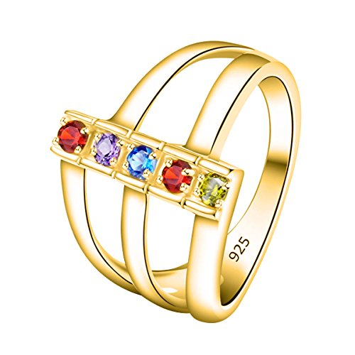 Five Gemstone Stack Rings - Quiges Gold Plated Silver Mother CZ Birthstone Personalized Engraved 5 Name Shank Stack Band Custom Ring 11.5