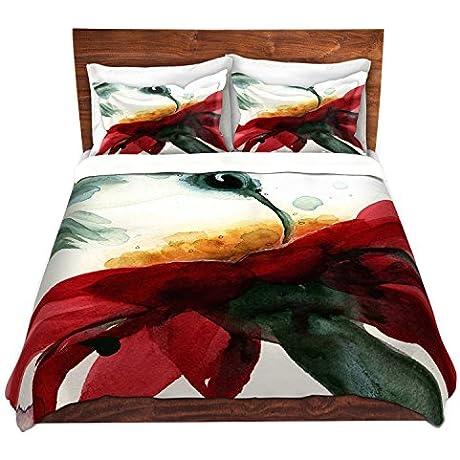 DiaNoche Designs Microfiber Duvet Covers Dawn Derman Hummingbirds Red Flower