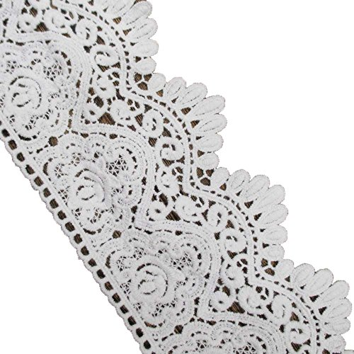3-1/2 Inches Wide In White Cotton Embroidered Eyelet Lace Trim Ribbon For Garment Home Decor DIY Craft Supply By 5 (Chantilly Lace Fabric)