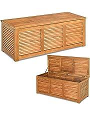 COSTWAY Acaciahouten buiten opbergbox kussenbox, 120 x 45 x 45 cm tuin opbergbank, buiten opbergkist voor tuinmeubilair kussens en tuingereedschap