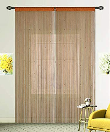 100x200cm,Champagne HSYLYM String Curtain with Pearl Beads Dense Fringe Beaded Door Tassel Curtains