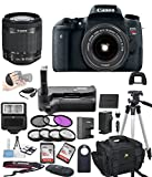 Canon EOS Rebel T6S Digital SLR Camera w/ EF-S 18-55mm Bundle includes Camera, Lenses, Filters, Bag, Memory Cards, Remote, Power Grip, Tripod ,and More - International Version