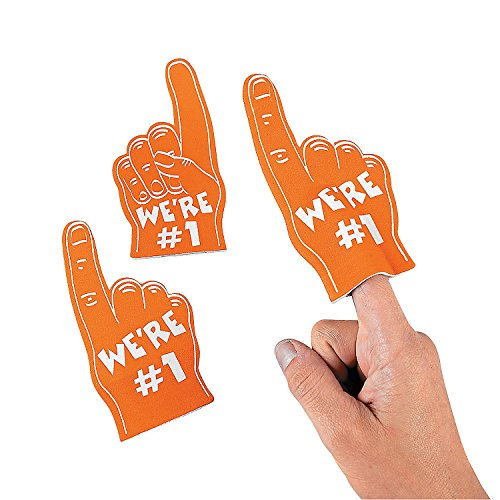 Fun Express - Orange Mini Foam Fingers - Toys - Value Toys - Misc Value Toys - 12 Pieces -