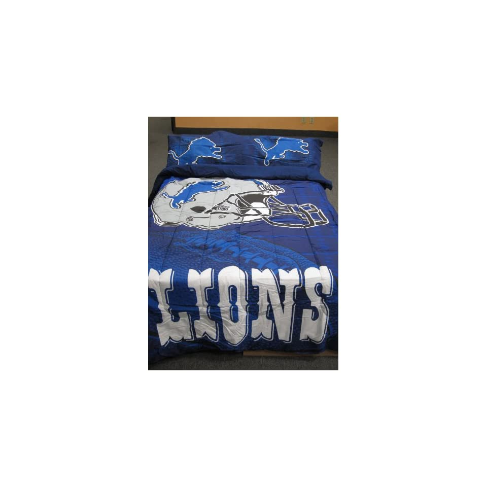 Classic NFL Detroit Lions ((Old Logo)) Football Team   Twin/full Comforter Set with Two Pillow Shams NEW