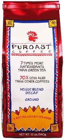 Puroast Low Acid Coffee House Blend Decaf Ground,12 oz.  Bag (Pack of 2)