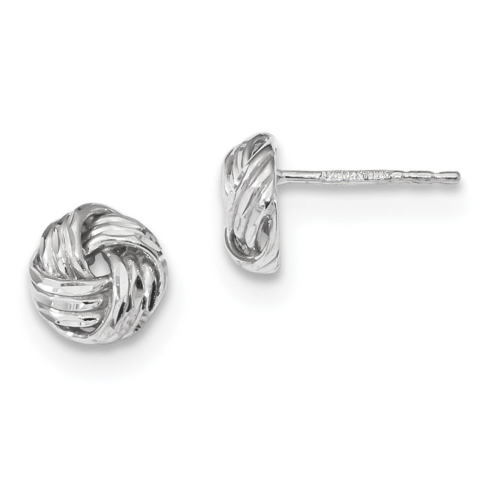 14kt White Gold Polished & D/C Love Knot Post Earrings