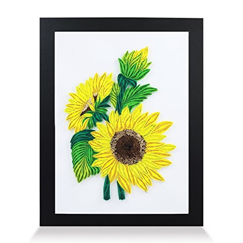 - Sunflowers Handmade Paper Quilling Artwork A4 Size, Framed 3D Wall Art or Stand Art as Unique Gift for Rustic Home Decor Quilled by Canadian Artist