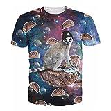 T-shirt 3D Print Choco Taco Lemur Space galaxyTops Tees (S)